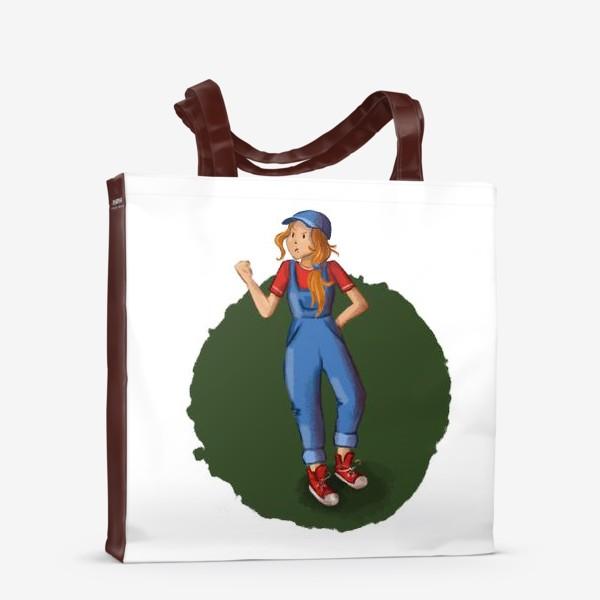Сумка-шоппер «Девочка хулиганка в комбинезоне, кедах и кепке»