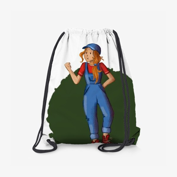 Рюкзак «Девочка хулиганка в комбинезоне, кедах и кепке»