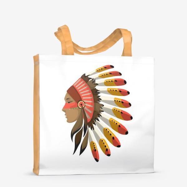 Сумка-шоппер «Индеец в национальном головном уборе с перьями»