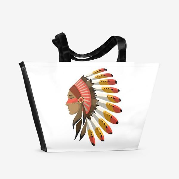 Пляжная сумка «Индеец в национальном головном уборе с перьями»