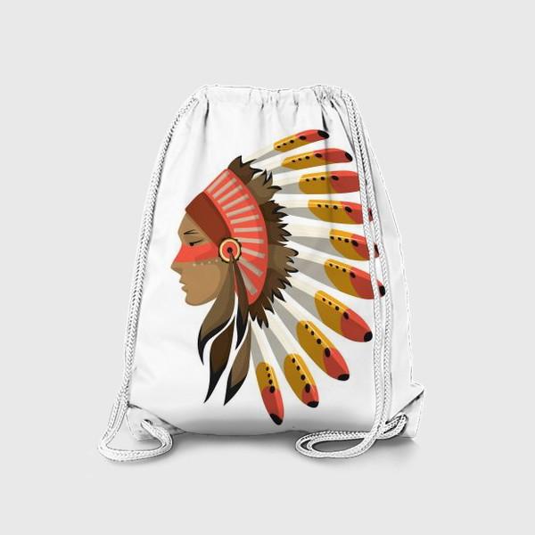 Рюкзак «Индеец в национальном головном уборе с перьями»