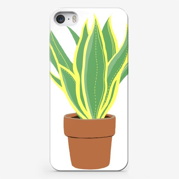 Чехол iPhone «Сансевиерия. Растение в горшке.»