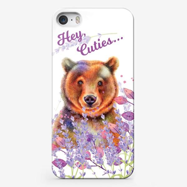 Чехол iPhone «Мишка в лаванде»