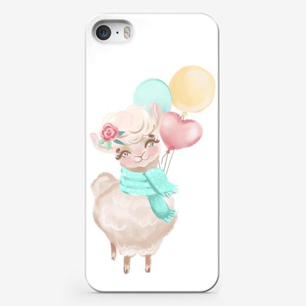 Чехол iPhone «Милая лама с шариками»