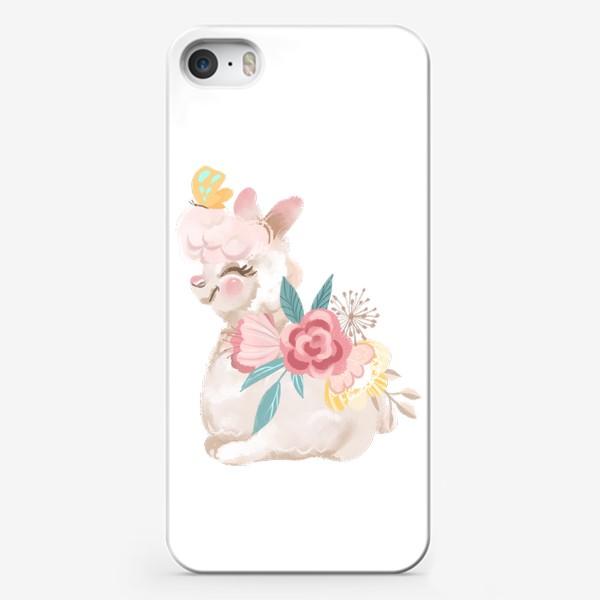 Чехол iPhone «Лама с цветами»