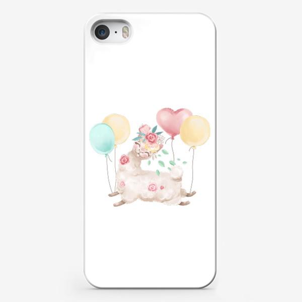 Чехол iPhone «Лама с цветами и шариками»
