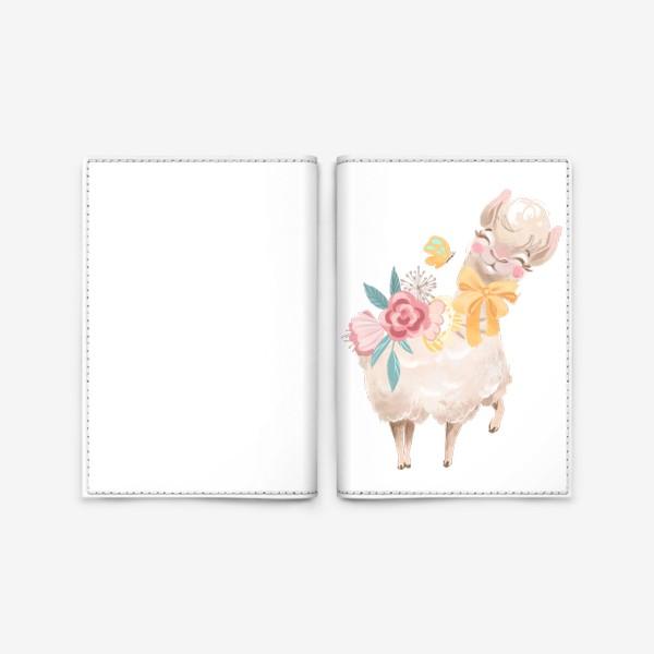 Обложка для паспорта «Лама с цветами»