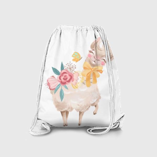 Рюкзак «Лама с цветами»