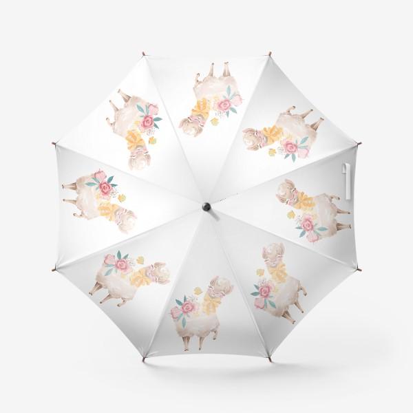 Зонт «Лама с цветами»