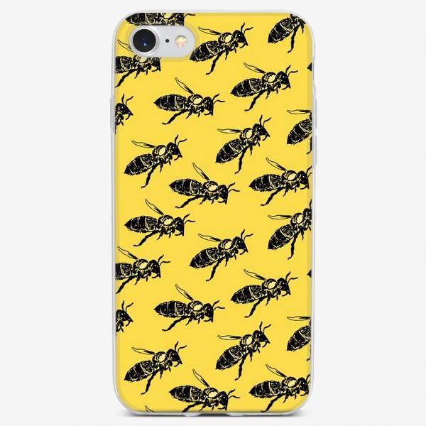 "Чехол iPhone «Паттерн ""Пчёлы на жёлтом""»"