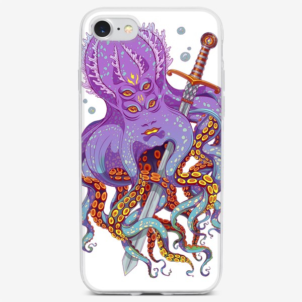 Чехол iPhone «осьминог с мечом»