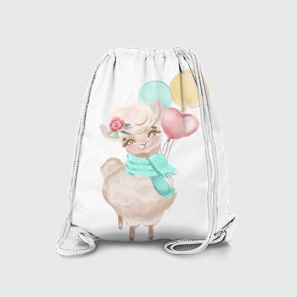 Рюкзак «Милая лама с шариками»