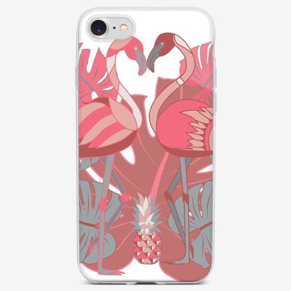 Чехол iPhone «Два фламинго и ананас»