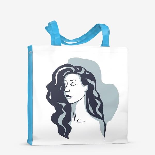 Сумка-шоппер «Девушка стилизованная брюнетка на голубом фоне»