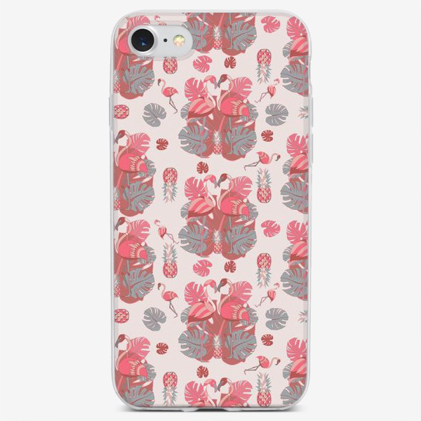 Чехол iPhone «Два фламинго и ананас, паттерн»