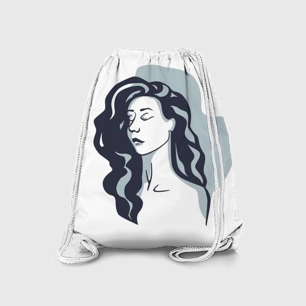 Рюкзак «Девушка стилизованная брюнетка на голубом фоне»