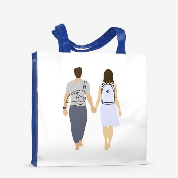 Сумка-шоппер «Пара парень и девушка с рюкзаками»