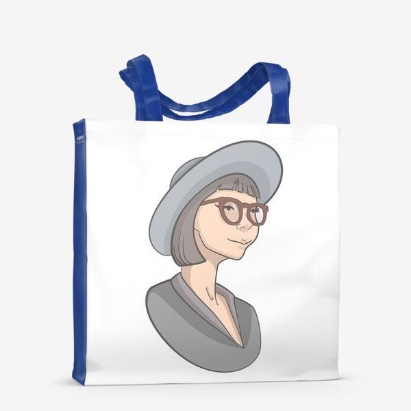 Сумка-шоппер «Милая девушка с каре в очках и шляпе»