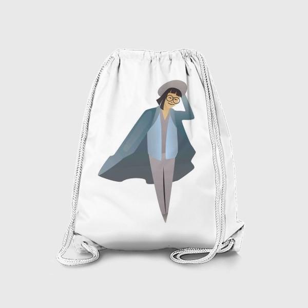 Рюкзак «Милая девушка с каре в очках, шляпе и пальто»