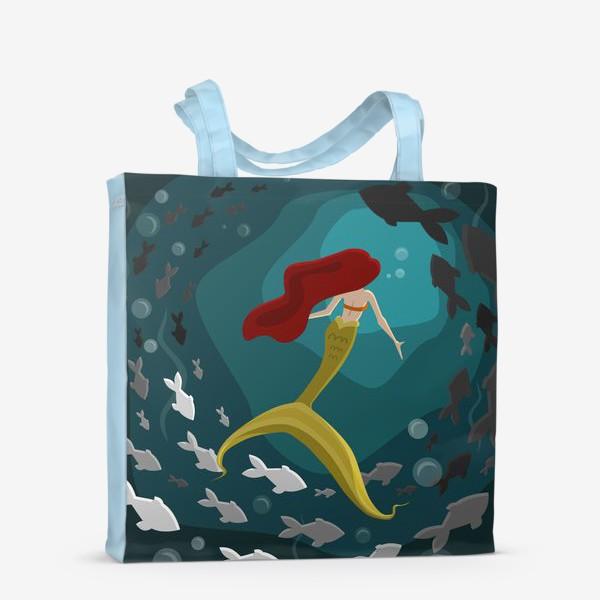 Сумка-шоппер «Русалка под водой с рыбками»