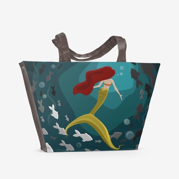 Пляжная сумка «Русалка под водой с рыбками»