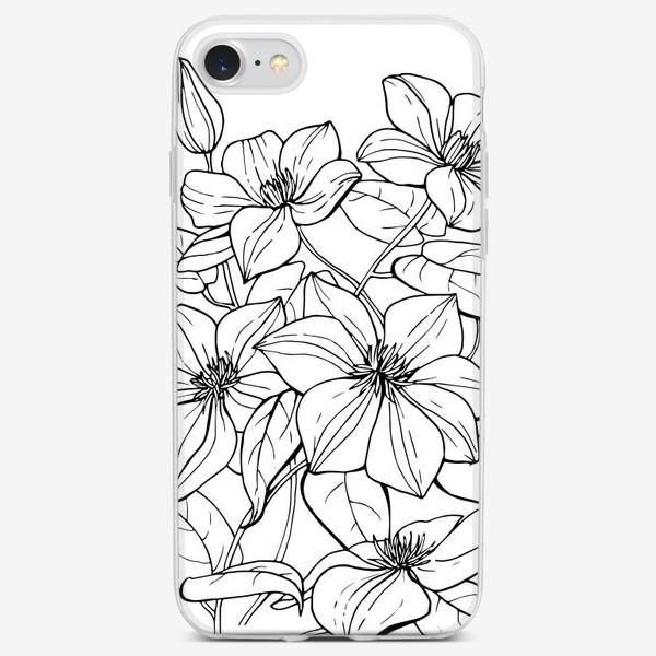 Чехол iPhone «Клематис. Черно-белая графика»
