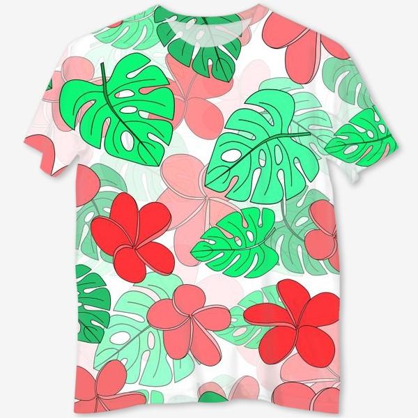 Футболка с полной запечаткой «Цветы и листья тропические на белом фоне»