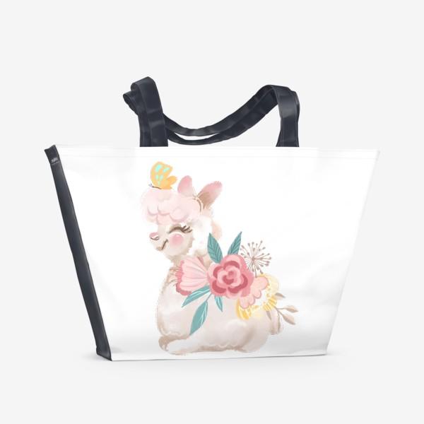 Пляжная сумка «Лама с цветами»