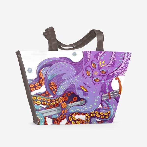Пляжная сумка «осьминог с мечом»
