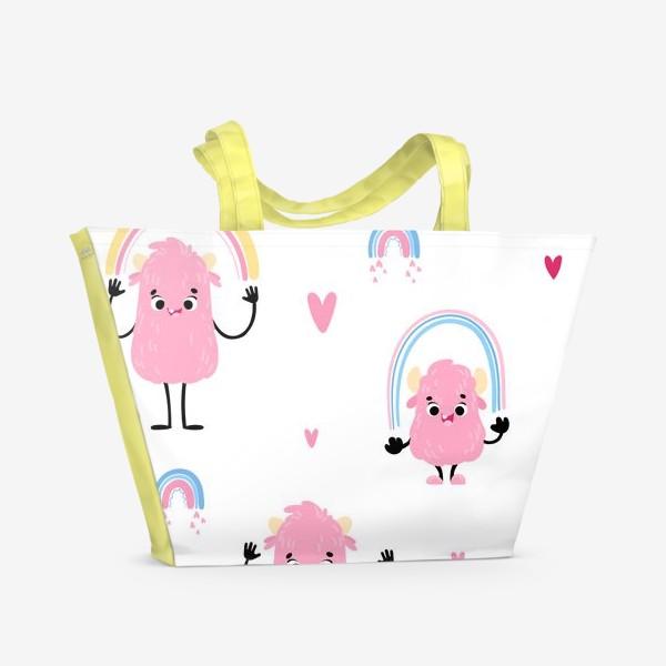 Пляжная сумка «monster and rainbow»