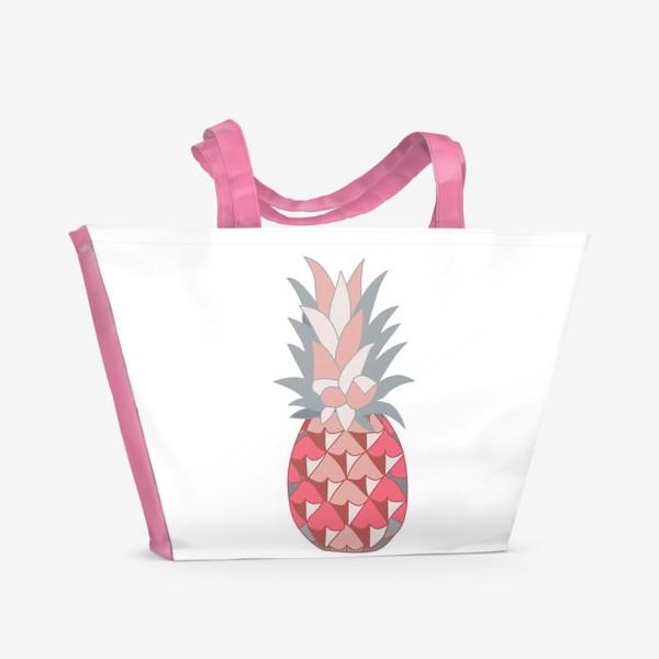 Пляжная сумка «Розовый ананас»