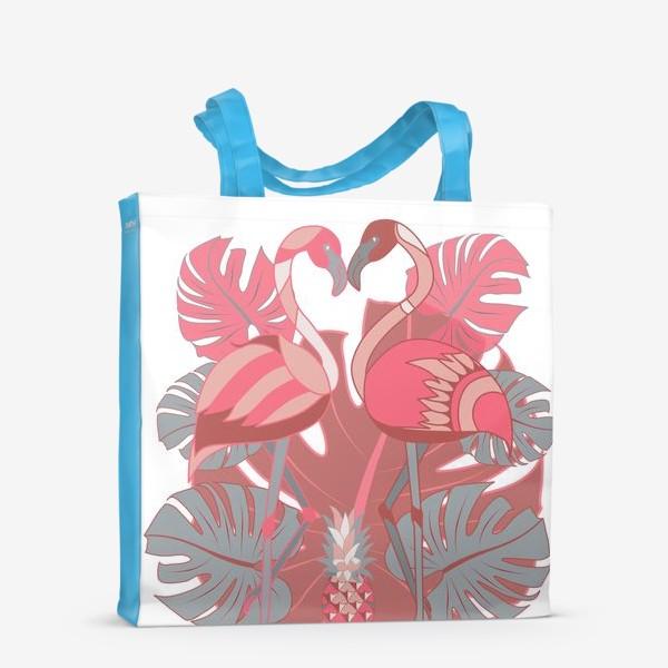 Сумка-шоппер «Два фламинго и ананас»
