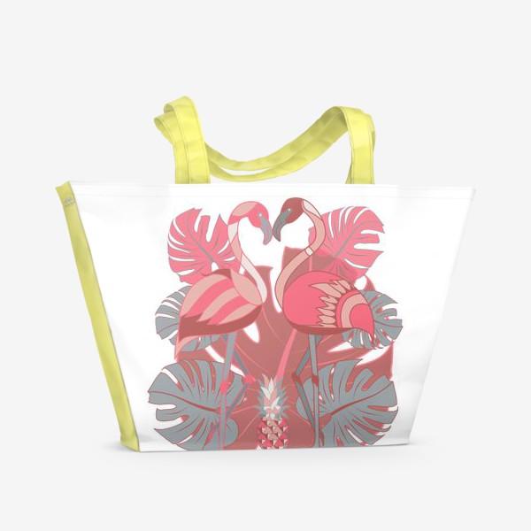 Пляжная сумка «Два фламинго и ананас»