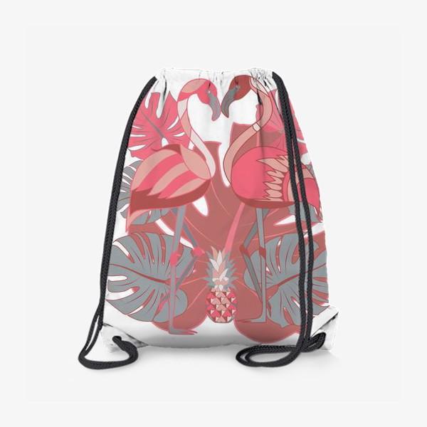Рюкзак «Два фламинго и ананас»
