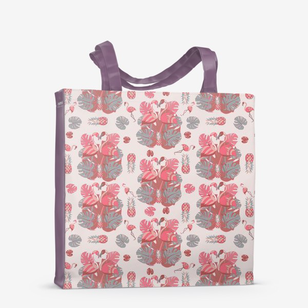 Сумка-шоппер «Два фламинго и ананас, паттерн»