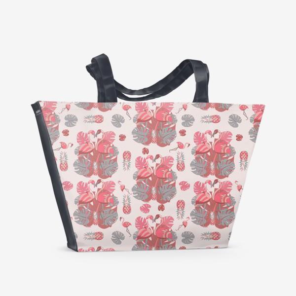 Пляжная сумка «Два фламинго и ананас, паттерн»