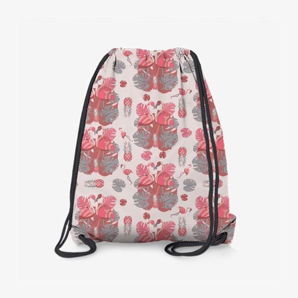 Рюкзак «Два фламинго и ананас, паттерн»