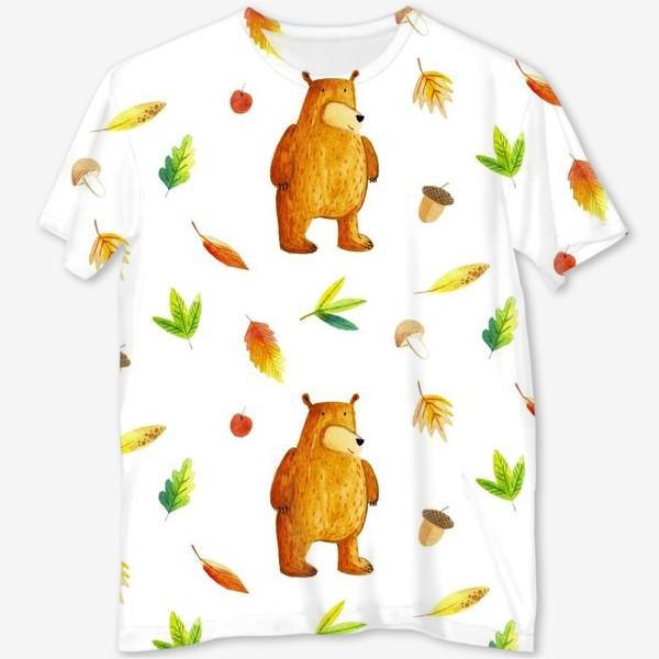 Футболка с полной запечаткой «Осенний медведь»