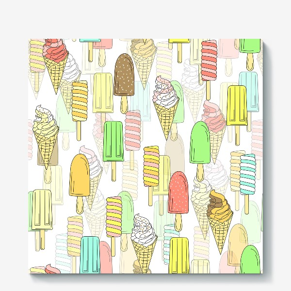 Холст «Эскимо. Паттерн мороженое»