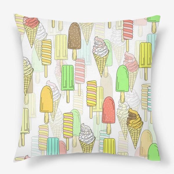 Подушка «Эскимо. Паттерн мороженое»