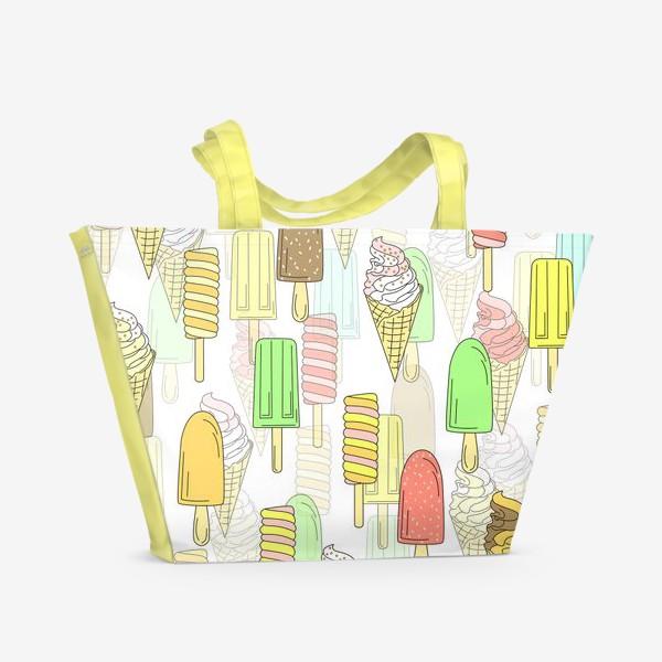 Пляжная сумка «Эскимо. Паттерн мороженое»