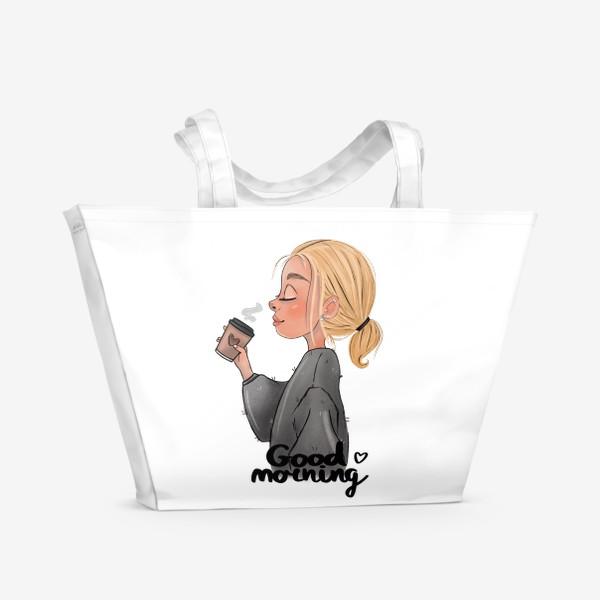 Пляжная сумка «Девушка с кофе»