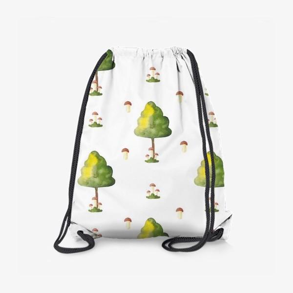 Рюкзак «Акварельный орнамент из деревьев и грибов»