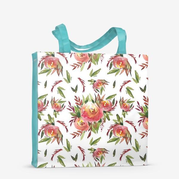 Сумка-шоппер «Паттерн из акварельных цветов»