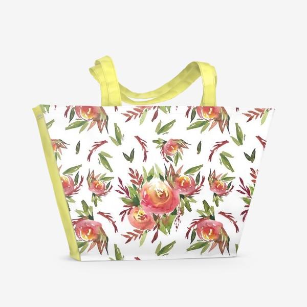 Пляжная сумка «Паттерн из акварельных цветов»