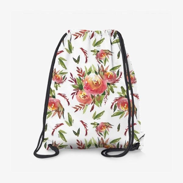 Рюкзак «Паттерн из акварельных цветов»