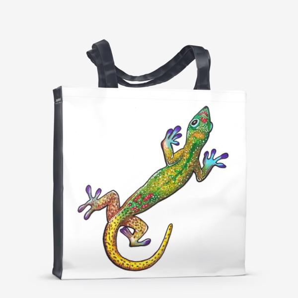 Сумка-шоппер «Зеленый геккон»