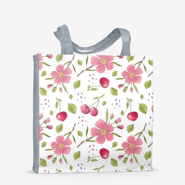 Сумка-шоппер «Паттерн из акварельных цветов и вишни»
