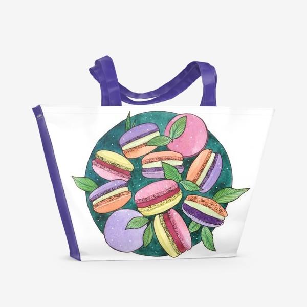 Пляжная сумка «Пирожные Макароны»