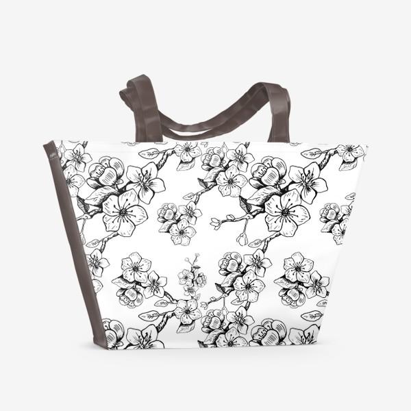 Пляжная сумка «Цветы вишни. Паттерн»